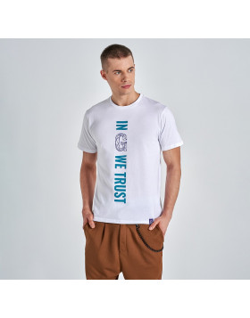 "Biały T-Shirt Gyeon z logo ""In G we trust"""